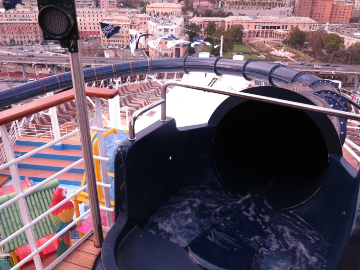 The entrance to the Vertigo waterslide