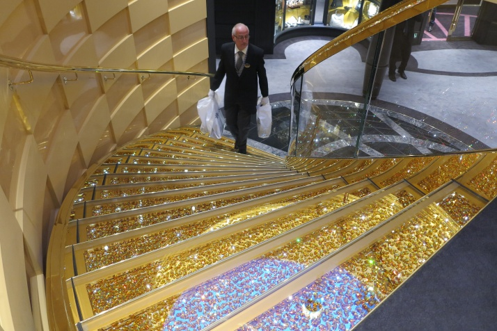 The 'golden' staircase in the Yacht Club