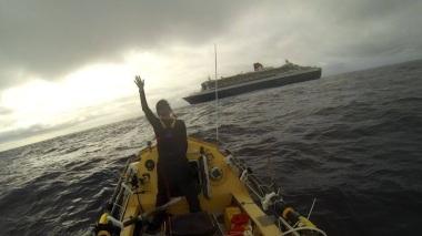 Bon voyage: Mylène Paquette as she sailed away from QM2 (Picture: Mylène Paquette)