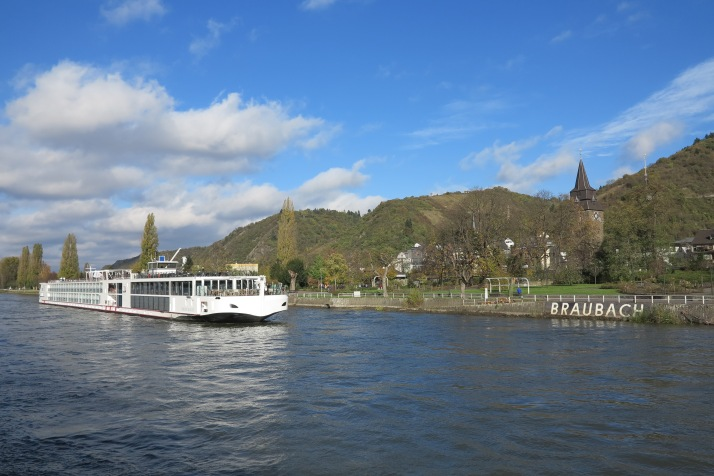 A fine Rhine: A Viking River Cruises ship sails past a village in Germany