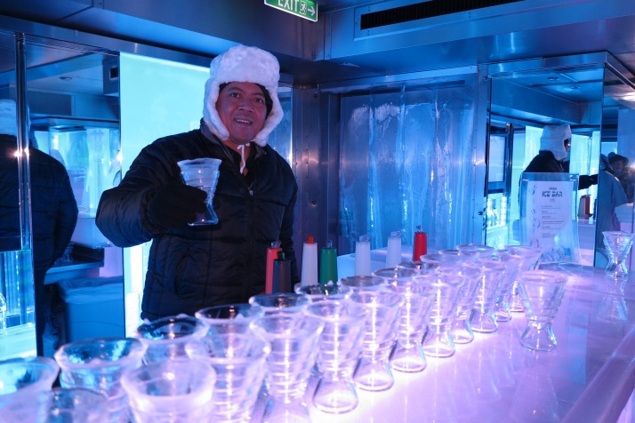 Miami Ice: A barman serves freezing drinks in the Miami-themed ice bar (Picture: Dave Monk)