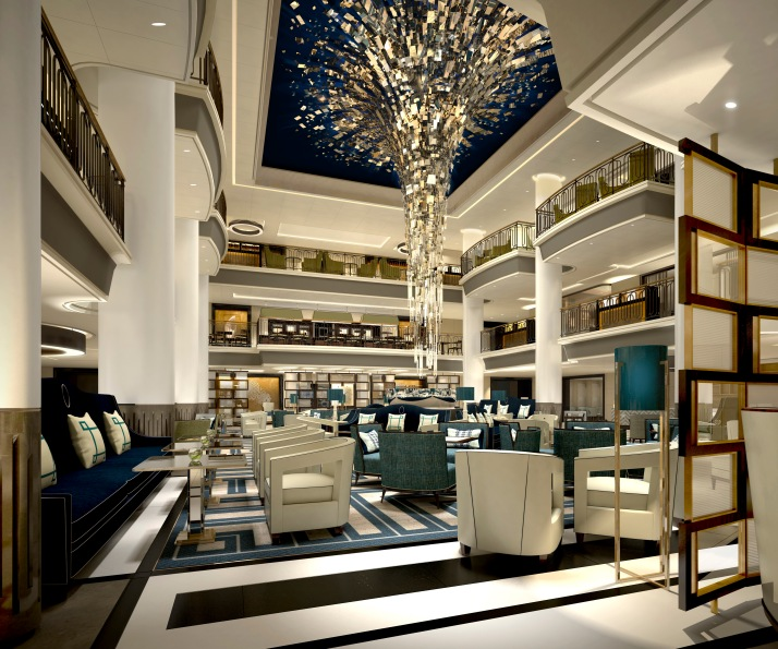 Light fantastic: The Starburst chandelier is a focal point of the atrium (Picture: P&O Cruises)