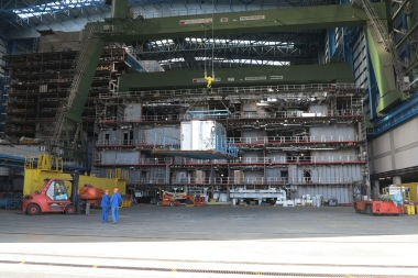 A pre-fabricated cabin is slotted in to the structure of Anthem of the Seas
