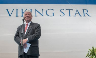 Torstein Hagen, chairman of Viking Cruises, at the float-out of Viking Star (Picture: Viking Cruises)