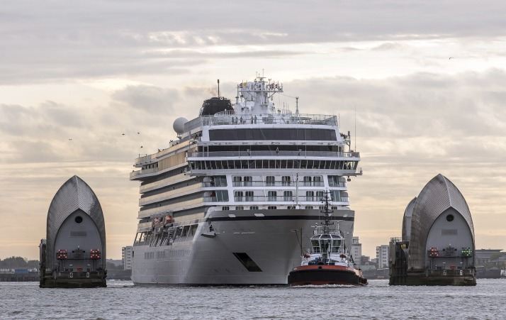 Viking Star eases through the Thames Barrier (Picture: Viking Cruises)
