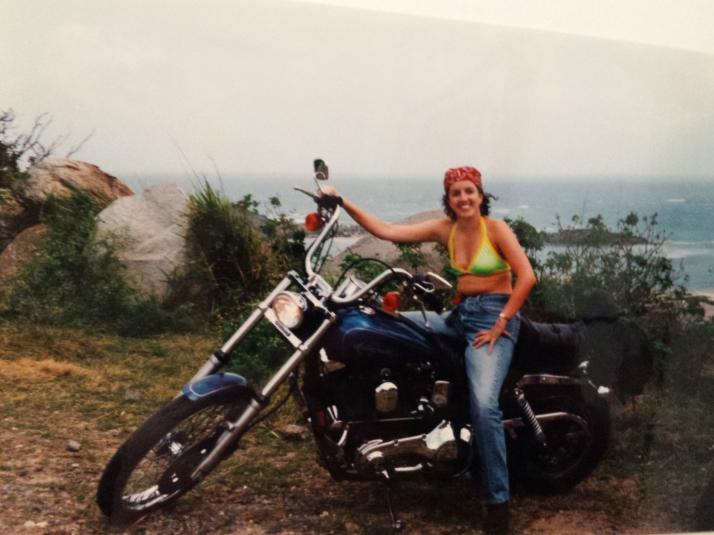 Easy rider: Cathryn hiring a Harley in St Martin