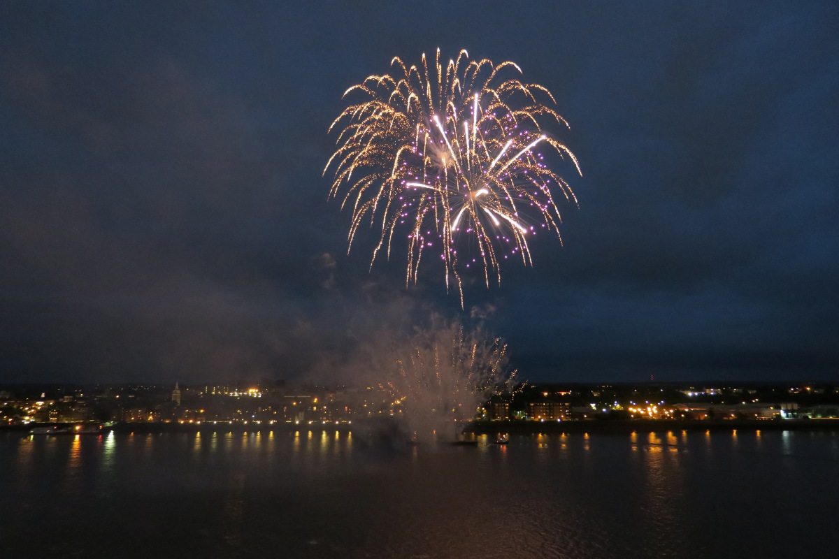 Columbus day! Fireworks celebrate the naming of CMV's new ship by broadcaster Angela Rippon